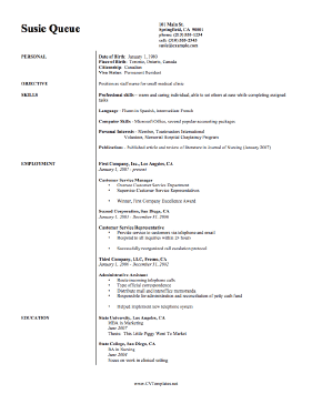 Free Registered Nurse Resume Templates on Preview Of Cv Template